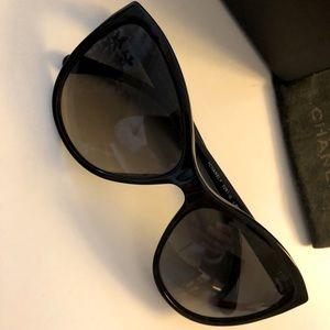 Chanel Black Polarized Cat-Eye Sunglasses
